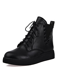 Women's Lace-up Round Closed Toe Low-Heels PU Low-top Boots