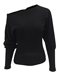 Для женщин На выход На каждый день Секси Простое Обычный Пуловер Однотонный,Красный Черный На одно плечо Длинный рукав ПолиэстерВесна