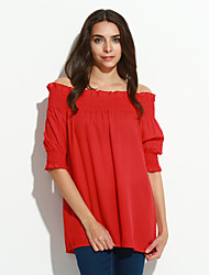 Women's Casual/Daily Sexy / Street chic Spring Blouse,Solid Boat Neck ½ Length Sleeve Red / Black / Orange Polyester Thin