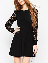 Women's Plus Size / Going out / Work Punk & Gothic / Sophisticated Sheath Dress,Solid Round Neck Above Knee Long SleeveRed / Black /