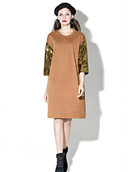 Women's Casual/Daily Sophisticated Loose Dress,Solid Round Neck Knee-length ¾ Sleeve Brown / Green Cotton / Polyester Spring / FallMid