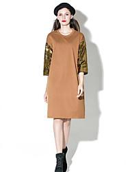 Ample Robe Femme Décontracté / Quotidien Sophistiqué,Couleur Pleine Col Arrondi Mi-long Manches ¾ Marron / Vert Coton / Polyester