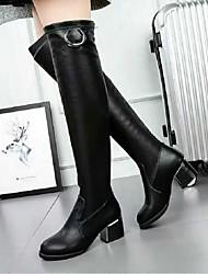 Damen-Stiefel-Lässig-Stretch - Satin-Blockabsatz-Andere-Schwarz