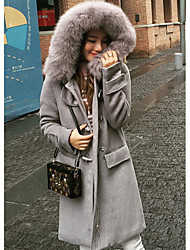 Women's Casual/Daily Simple Coat,Solid Long Sleeve Fall / Winter White / Brown / Gray Cotton Medium