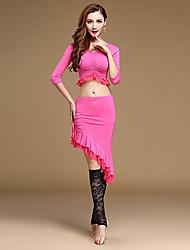 Dança do Ventre Roupa Mulheres Treino Algodão / Modal 2 Peças Meia manga Natural Saia / TopTop: M: 36cm, L: 38cm; Skirt: M: 42/66cm, L: