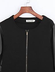 Women's Patchwork Slim Long Sleeve Zipper Little Jacket