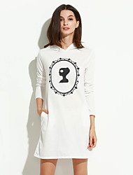 Women's Winter Fashion Print Slim Long Sleeve Hooded Dress