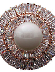 Women's Brooches Luxury Pearl Zircon Cubic Zirconia Circle Geometric Jewelry For Daily