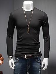Herren Solide Retro Ausgehen T-shirt,Rundhalsausschnitt Herbst Langarm Weiß / Schwarz / Grau Baumwolle Dick