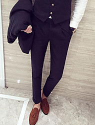Men's Skinny Business Pants,Casual/Daily Simple Solid Mid Rise Zipper Cotton Micro-elastic All Seasons
