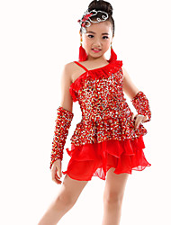Belly Dance Outfits Children's Performance Polyester Ruched Sequins 3 Pieces Gloves Leotard