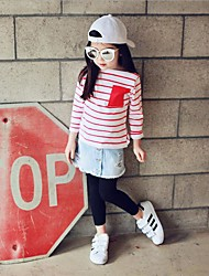 Girl Going out / Party/Cocktail Striped Tee,Cotton Winter / Fall Long Sleeve Regular
