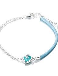 SILVERAGE Sterling Silver Maldives Blue Heart Adjustable Wrap Chain Bracelet