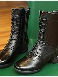 Chaussures de danse(Noir / Rouge) -Non Personnalisables-Talon Bas-Cuir-Moderne