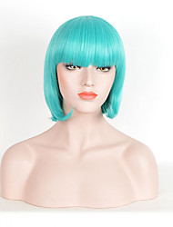 Hot Sale Women Green Color Synthetic Wigs Short Straight Wigs