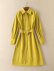 Feminino Solto Vestido,Casual Simples Sólido Colarinho de Camisa Altura dos Joelhos Manga Longa Amarelo / Roxo Algodão / PoliésterOutono