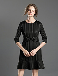 INPLUS LADY Women's Casual/Daily Simple A Line DressStriped Round Neck Above Knee  Length Sleeve Black Others Spring / Summer High Rise