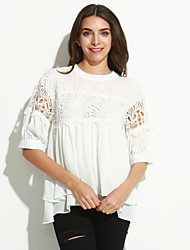Women's Casual/Daily Simple Fall T-shirt,Solid Round Neck ½ Length Sleeve White Polyester Medium