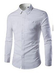 Men's Formal / Work Simple Shirt,Solid Shirt Collar Long Sleeve White / Gray Cotton