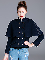 ZIYI Women's Casual/Daily Simple CoatSolid Stand Short Sleeve Fall / Winter Blue Polyester