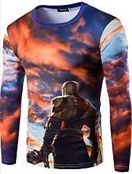Tee-shirt Hommes,Imprimé Décontracté / Quotidien / Sportif / Sortie simple Toutes les Saisons Manches Longues Col ArrondiRouge / Orange /