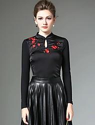 Feminino Camiseta Formal / Informal estilo antigo / Temática Asiática Inverno,feito à mão / Bordado Vermelho / PretoPoliéster / Fibra