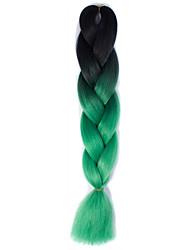 Black Green Ombre Crochet 24 Yaki Kanekalon 2 Tone Jumbo Braids 100g Synthetic Hair