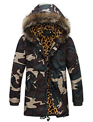 New Arrival Men's Regular Padded CoatSimple Casual/Daily Camouflage-Polyester Polyester Long Sleeve Hooded Green