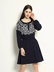 Women's Going out / Casual/Daily Simple Sheath / Skater Dress,Geometric U Neck Above Knee Long Sleeve Black Linen Fall / Winter Mid Rise