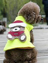 Cães Casacos Colete Verde Roupas para Cães Inverno Primavera/Outono Urso Fofo Mantenha Quente