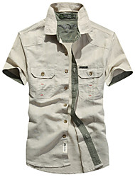 Men's Wedding Work Vintage Street chic Shirt,Solid Shirt Collar Long Sleeves Cotton