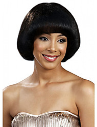 Capless Women Bobo Short Straight Natural Black Synthetic Wigs with Free Hair Net