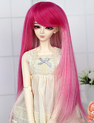 Synthetic Long Straight Ombre Pink Color 1/3 1/4 Bjd SD DZ MSD Doll Wig Accessories Not for Human Adult