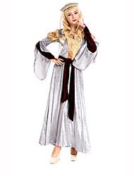 Festival/Celebração Trajes da Noite das Bruxas Branco Estampado Vestido / Cinto / Decoração de CabeloDia Das Bruxas / Natal / Carnaval /