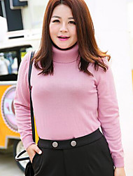 Women's Casual/Daily Plus Size Simple Regular Pullover,Solid Blue Pink Red White Round Neck Long Sleeve Wool Fall Winter Medium