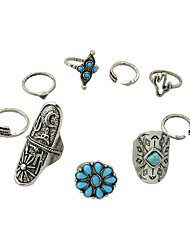 (9 Pcs One Set) Tibetan Style Silver Color Blue Beads Fingers Rings Set