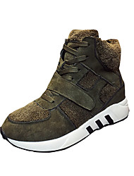 Women's Sneakers Winter Platform Leather Casual Low Heel Magic Tape Black Green Gray Walking
