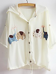 Women's Casual/Daily Simple Jackets,Solid Long Sleeve Spring / Fall Beige Polyester Thin