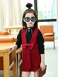 Girl's Casual/Daily Solid Dress,Cotton Spring / Fall Sleeveless