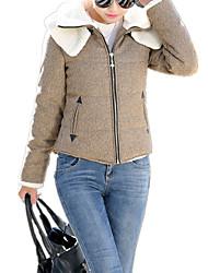 Women's Solid Sheep Velvet Double Layer Neck Woolen Short Coat Jacket