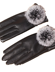 Anti-Slip Touch-Screen Leather Gloves (Black)