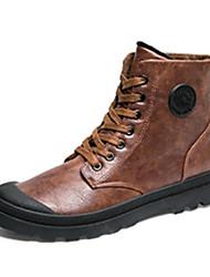 Черный Коричневый Серый-Мужской-Повседневный-Полиуретан-На плоской подошве-Удобная обувь-Ботинки