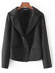Women's Casual/Daily Simple Jackets,Solid Shirt Collar Long Sleeve Spring / Fall Black Cotton Medium