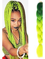 "Blackish Green Ombre Olivine Crochet 24"" Yaki Kanekalon Fiber 100g 2 Tone Jumbo Braids Synthetic Hair"