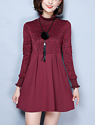 Women's Plus Size / Slim Split chic A Line / Lace Dress Solid Turtleneck Above Knee Long Sleeve Red / Black Polyester Winter Mid