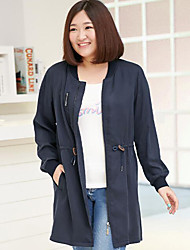 MsShe Women's Plus Size / Casual/Daily Simple Trench CoatSolid Stand Long Sleeve Fall Blue Cotton Medium