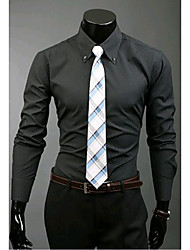 Men's Going out / Formal / Work Simple / Cute / Street chic All Seasons Shirt,Solid Shirt Collar Long Sleeve Blue / White / Black Cotton