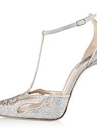 Feminino-Saltos-Tira em T Conforto Sapatos clube-Salto Agulha-Prateado-Camurça-Casamento