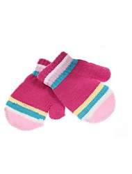 (NOTE - FIVE PACKAGED DESIGN AND COLOR) CHILDREN MS QIU DONG SEASON MALE STUDENTS RABBIT WOOL COLOR STRIPE GLOVES