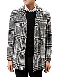 Men's Plus Size / Casual/Daily Simple CoatCheck Notch Lapel Long Sleeve Fall / Winter Gray Wool / Cotton Thick 916520